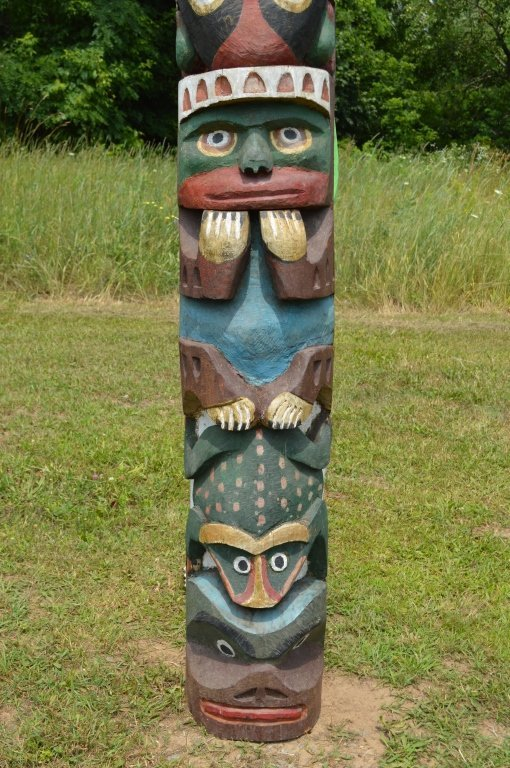 """North Pacific 1920's Totem Pole - 10'3"""" tall - 5"""