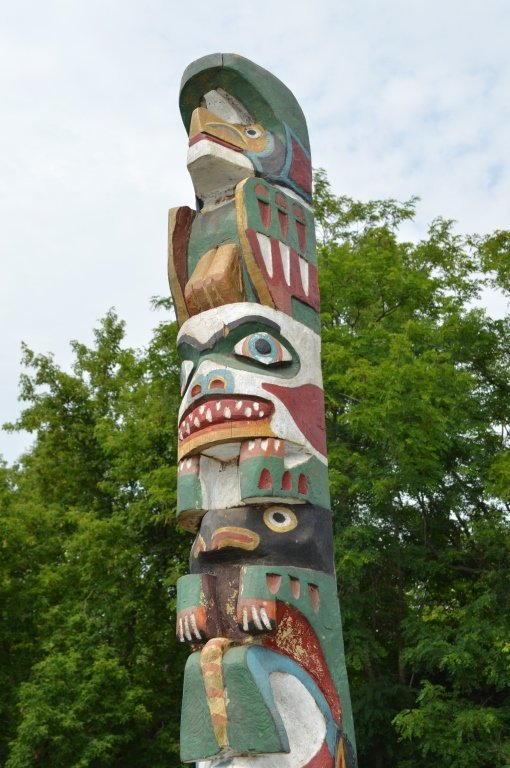 """North Pacific 1920's Totem Pole - 10'3"""" tall - 6"""