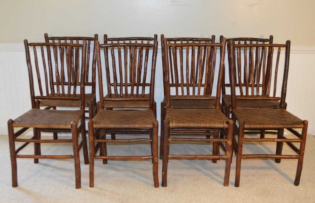 8 Old Hickory Spindle Back Woven Seat Chairs