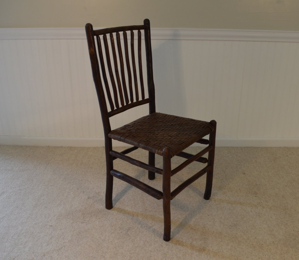 8 Old Hickory Spindle Back Woven Seat Chairs - 3