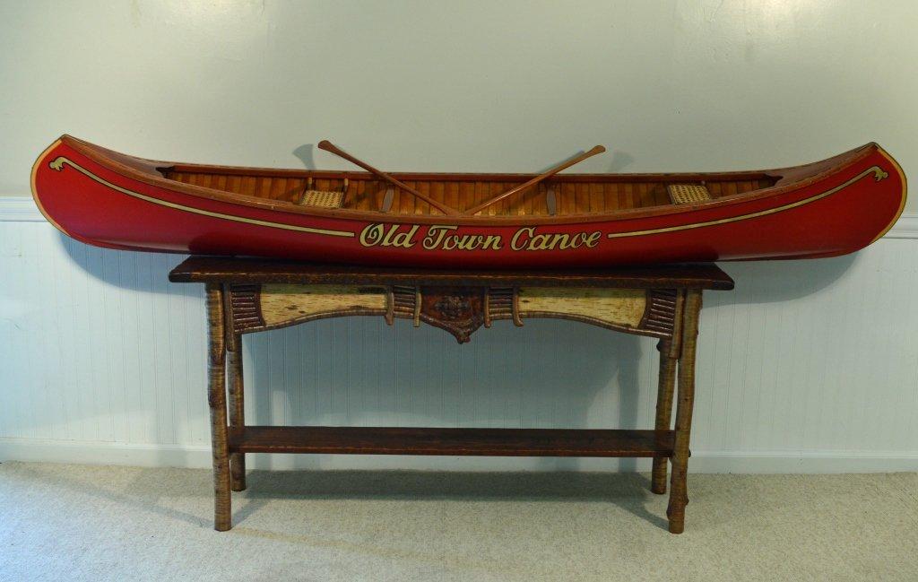 8' Salesman Sample Old Town Wood Canvas Canoe