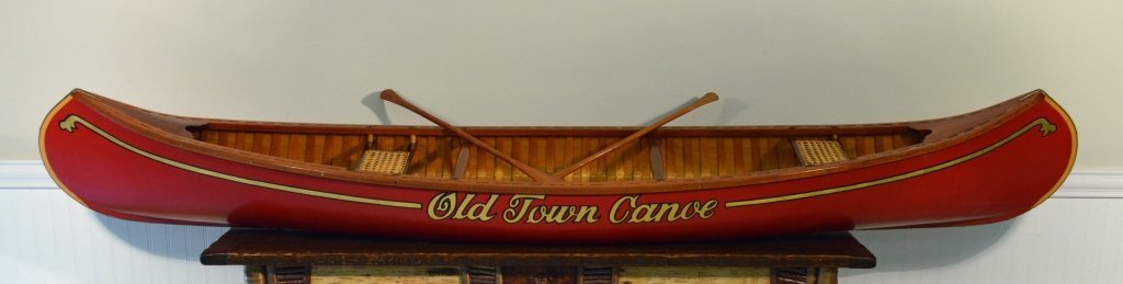 8' Salesman Sample Old Town Wood Canvas Canoe - 2
