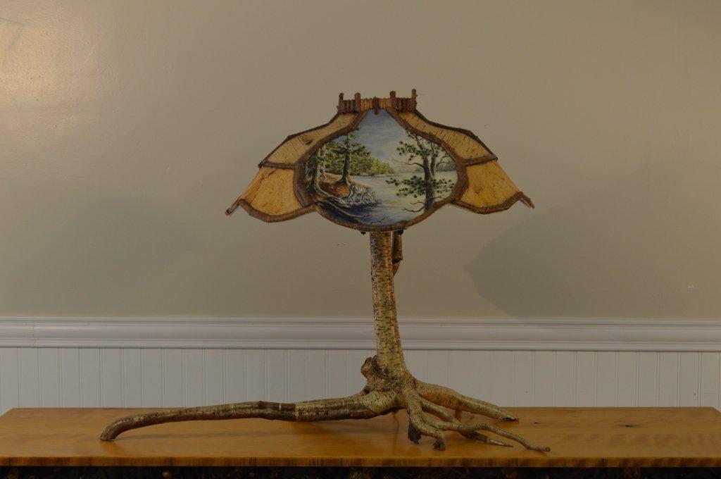 Yellow Birch Root Base Table Lamp