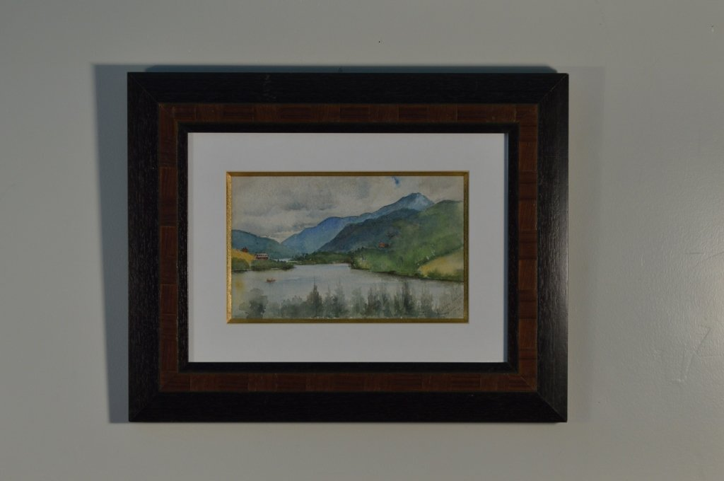 Framed Watercolor of Mirror Lake