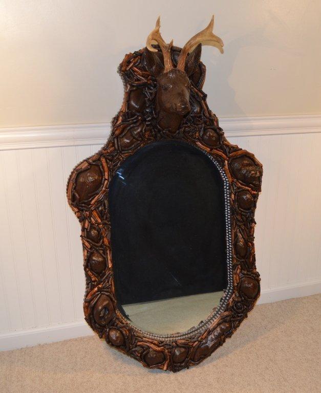 Adirondack Faux Mosaic and Burl Mirror