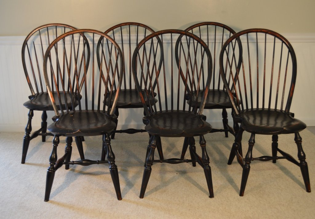 Set of 6 Windsor Style Bowback Dining Chairs
