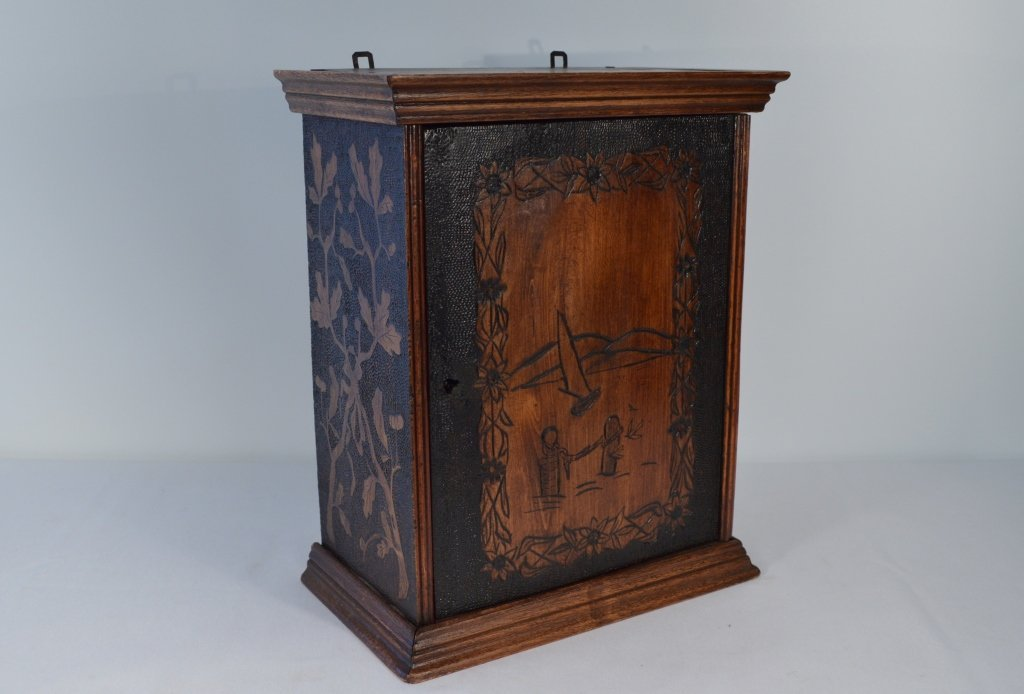 Folk Art Carved Small Hanging Cabinet