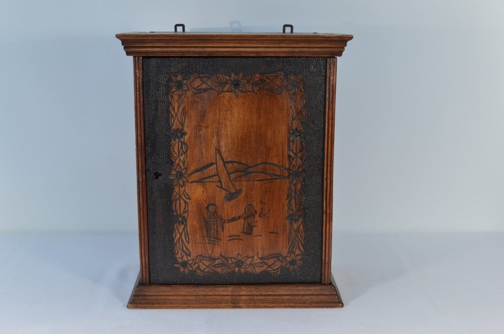 Folk Art Carved Small Hanging Cabinet - 2