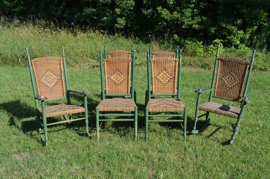 6 Heywood-Wakefield Wicker & Green Painted Chairs