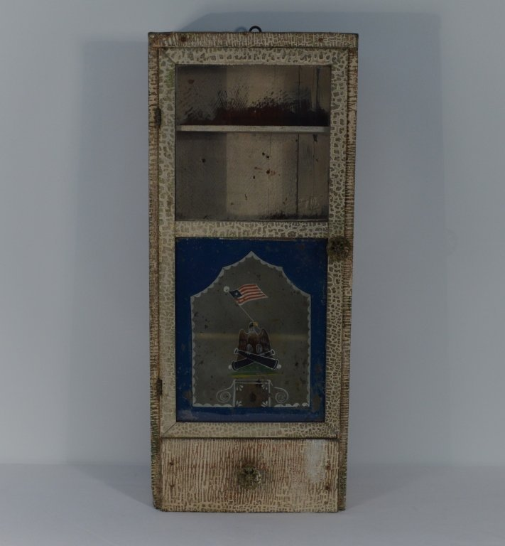 Folk Art Painted Hanging Wall Cabinet