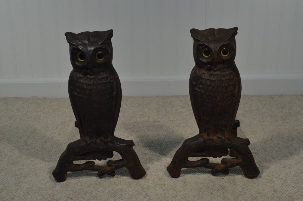 "Pair of Owl Glass Eyed Andirons - 15"" Tall"