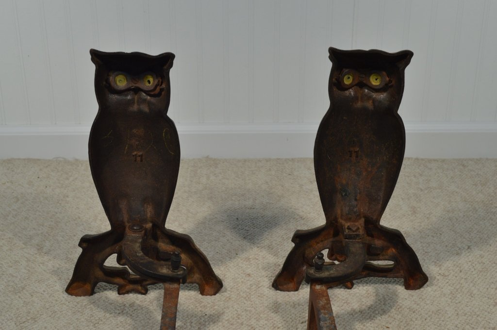 "Pair of Owl Glass Eyed Andirons - 15"" Tall - 2"