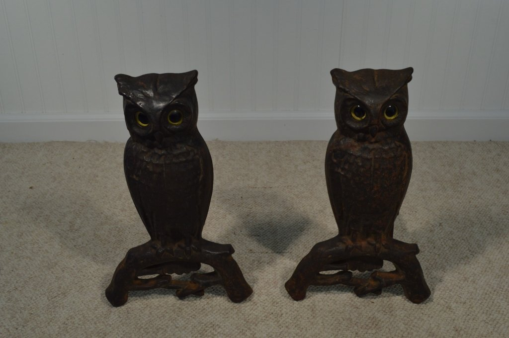 "Pair of Owl Glass Eyed Andirons - 15"" Tall - 3"