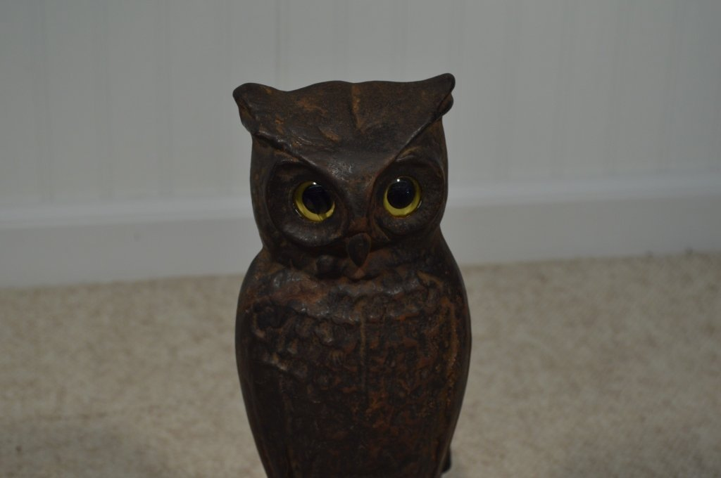 "Pair of Owl Glass Eyed Andirons - 15"" Tall - 4"