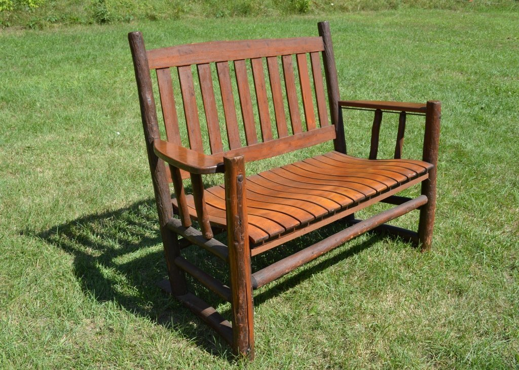 Rustic Drop Arm Settee Made by Binghamton Chair Co