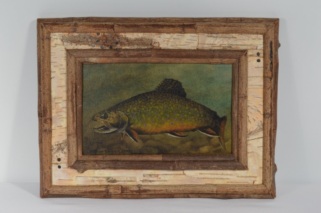 Trout Painting on Canvas Signed J. Swartwout 2008