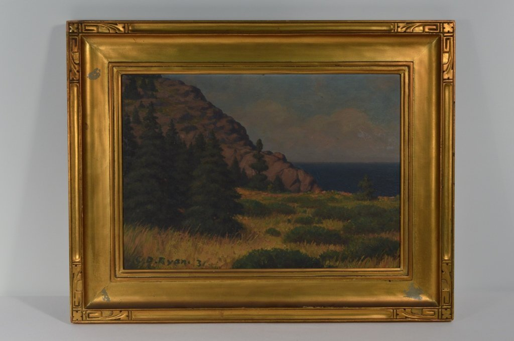 C.D. Ryan 1931 Oil on Board - Coastal Landscape