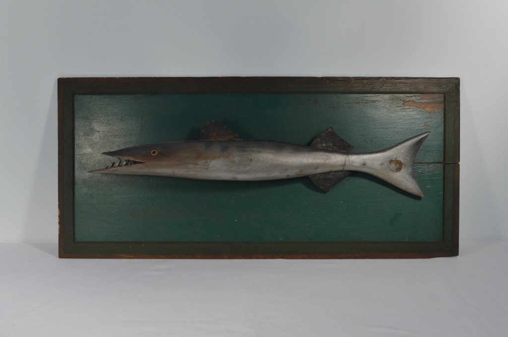 Baracuda Wooden Carved Fish on a Painted  Board