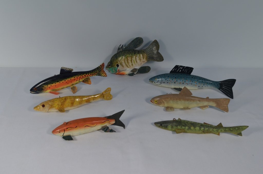 Collection of 7 Contemporary Ice Fishing Decoys