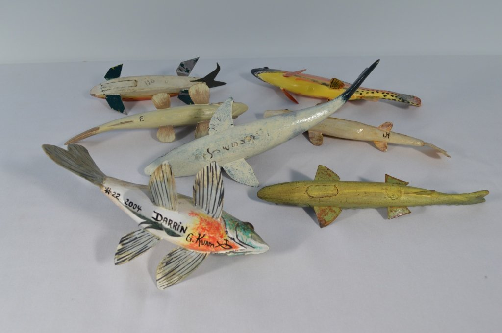 Collection of 7 Contemporary Ice Fishing Decoys - 2