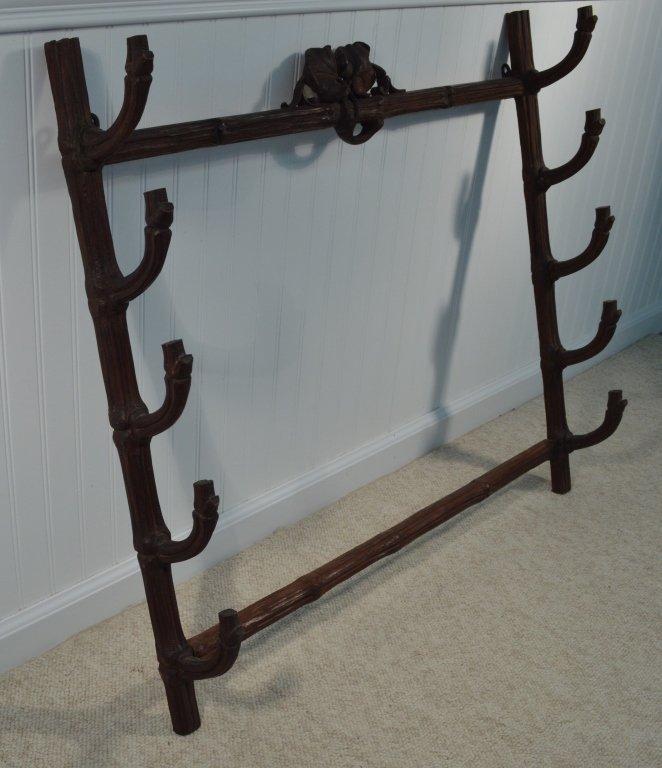 Black Forest Walnut Carved Gun Wall Rack - 3