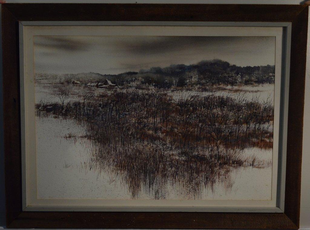 """Robert Plumb Original Watercolor """"Parishville #2"""""""