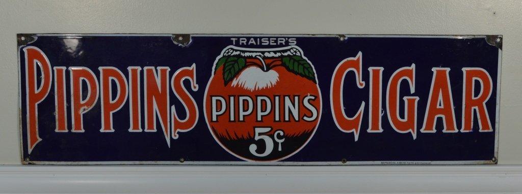 Pippins 5 Cent Cigar Porcelain Advertising Sign