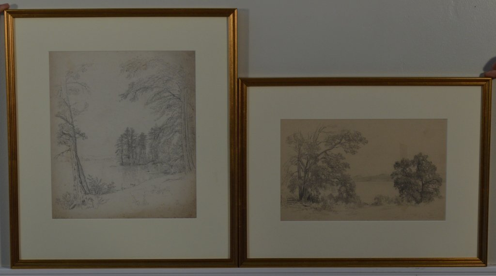 Pair of Drawings by J.W. Hill