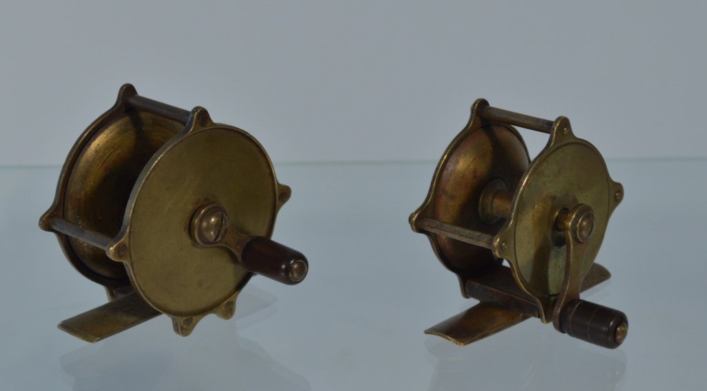 Two Small Brass Wooden Handle Trout Reels