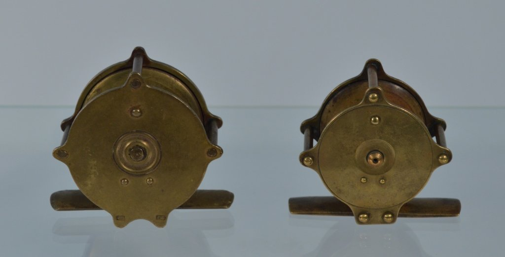 Two Small Brass Wooden Handle Trout Reels - 2