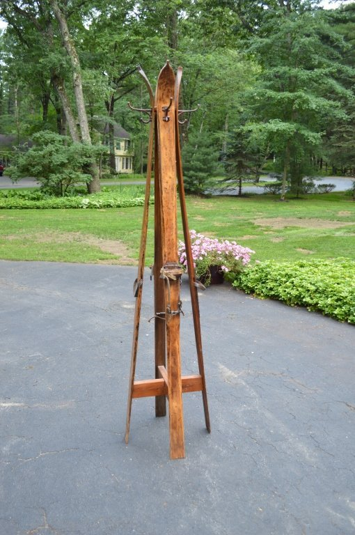 """Wooden Ski Coat Tree - 82"""" tall"""