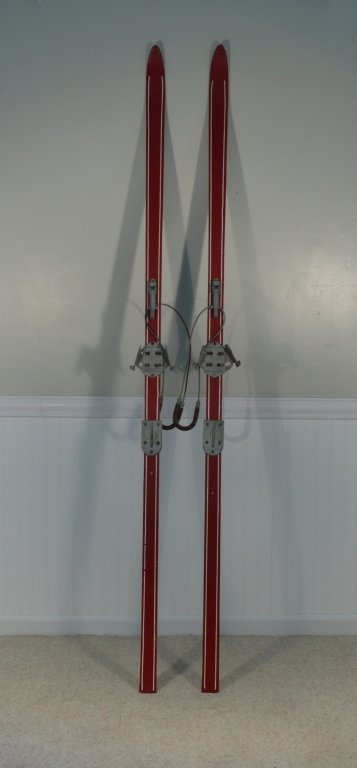 Pair of Red Wooden Mid Century Cross Country Skis