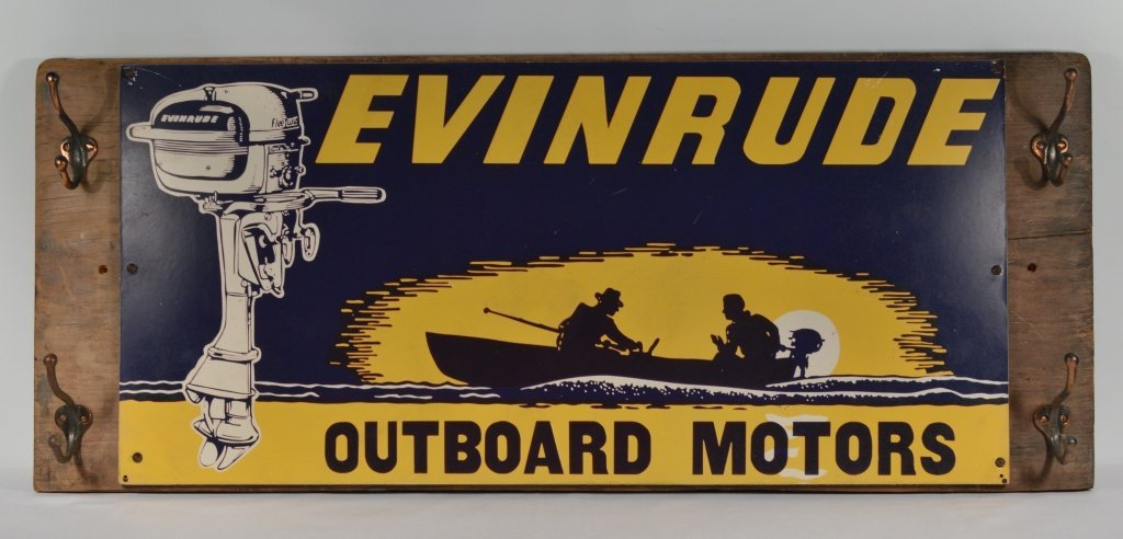 Evinrude Outboard Motor Sign on Wooden Board