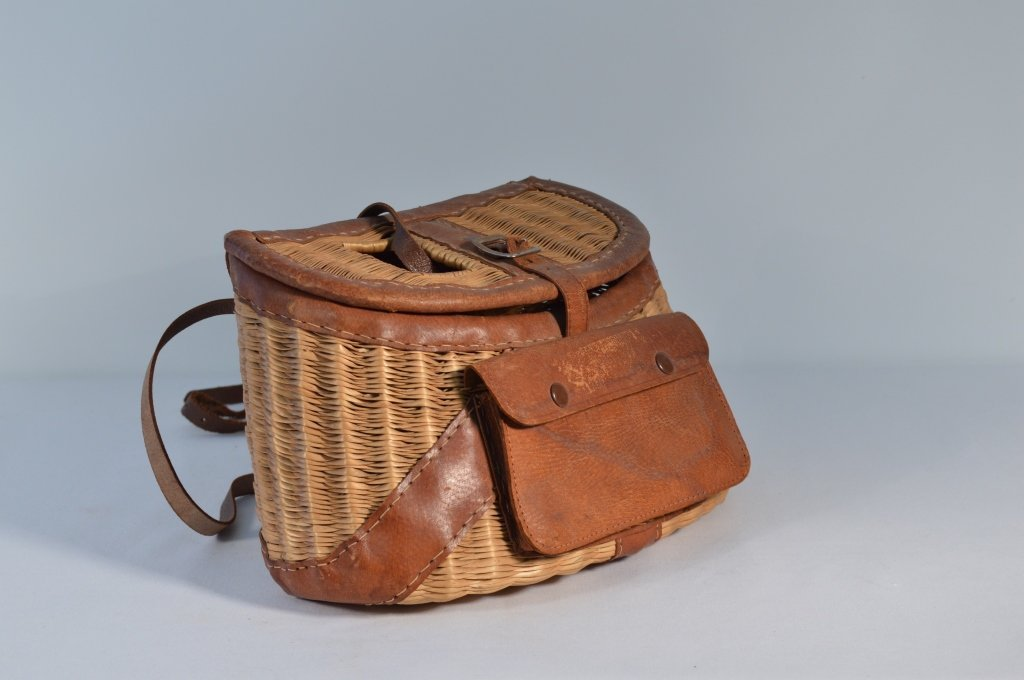 Fishing Creel with Leather Trim and Pouch