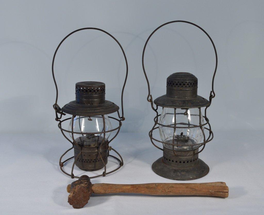 2 Railroad Lanterns and a Railroad Hammer