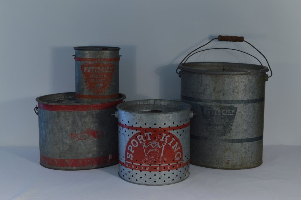 4 Vintage Galvanized Minnow Buckets