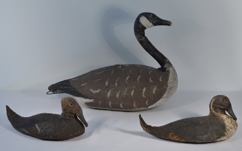 Canvas Covered Goose and 2 Duck Decoys