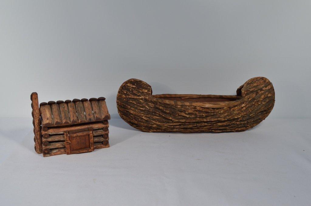 Miniature Canoe & a Miniature Log Cabin Box