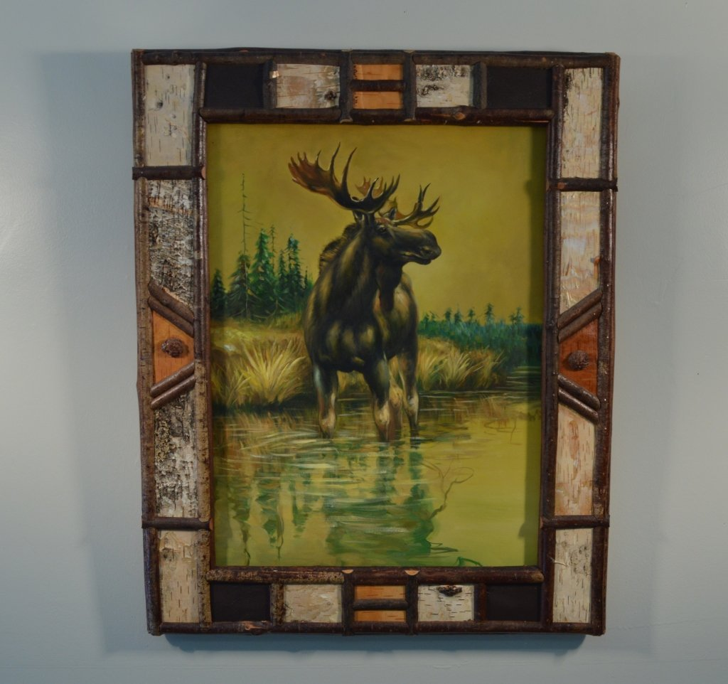 Oil on Canvas Moose in an Adirondack Birch Frame