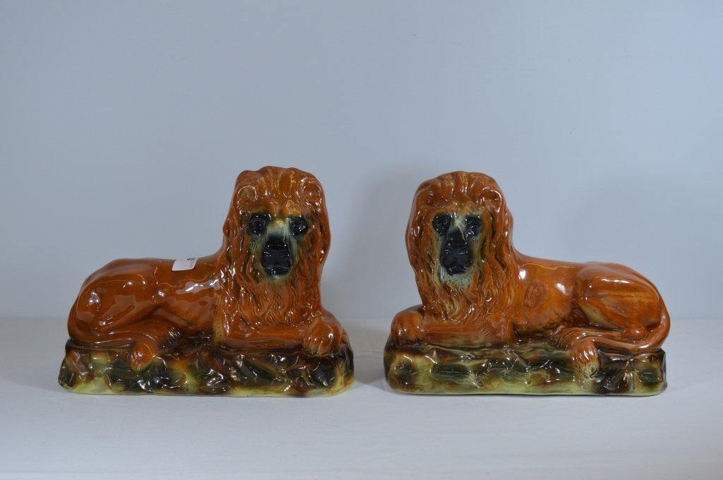 Pair of Ceramic Lions