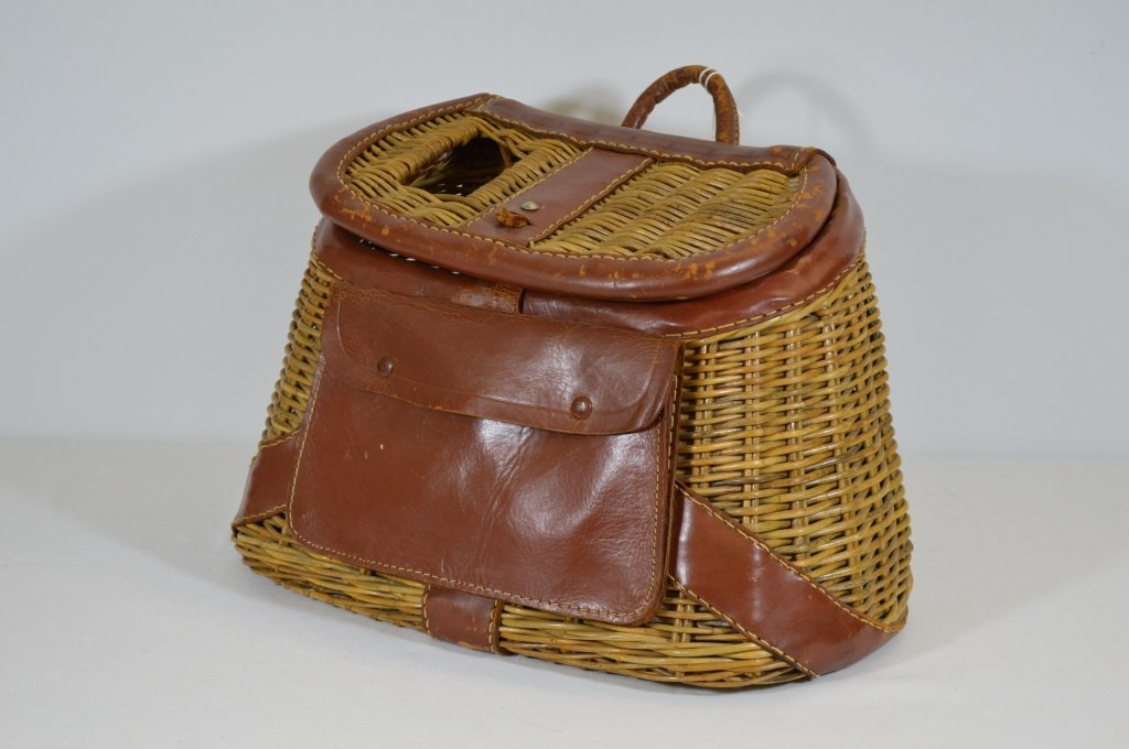 Wicker Fishing Creel with Leather Trim