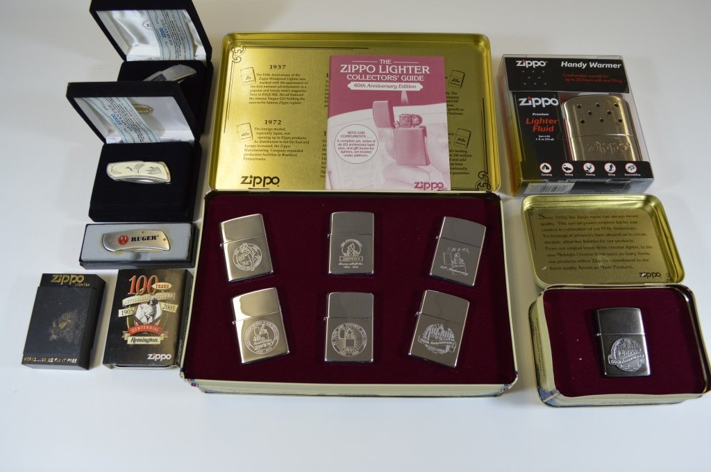 Group of Zippo Lighters and Pocket Knives