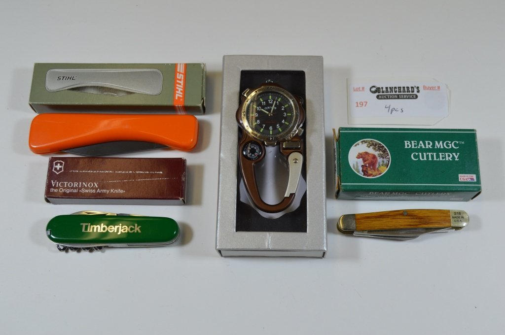 Orvis Watch and 3 Pocket Knives