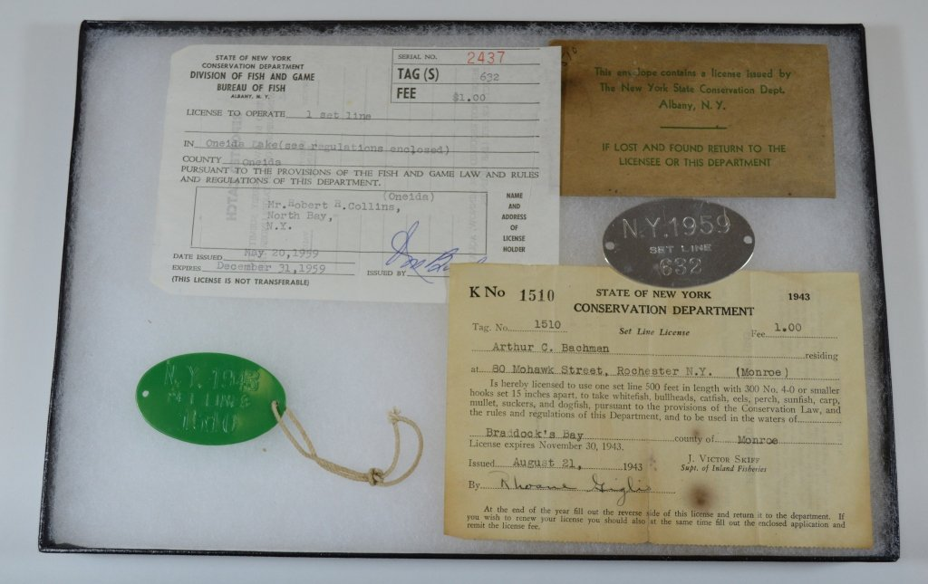 NYS Set Line Licenses and Tags (1943 and 1959)