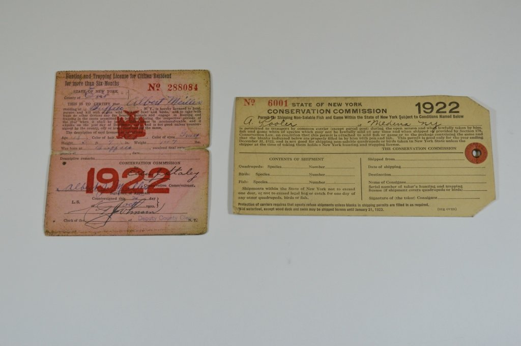 NYS 1922 Paper License and Shipping Tag