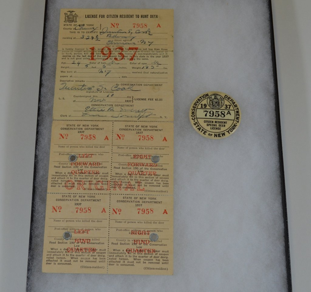 1937 NYS Citizen Resident Special Deer License
