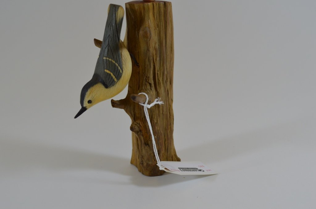 Contemporary Nuthatch Bird Carving Signed Cardwell