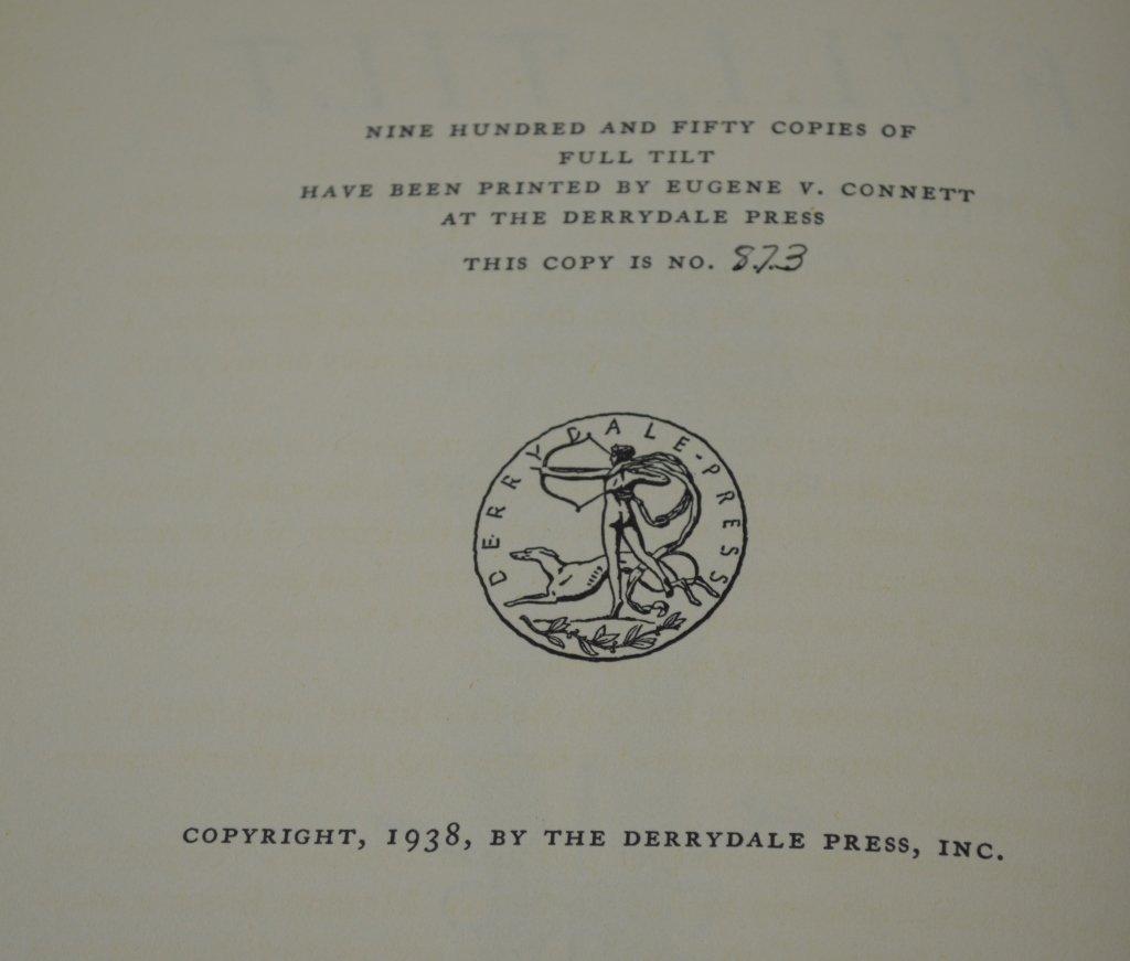 Derrydale Press Book Full Tilt by Alden Hatch - 3