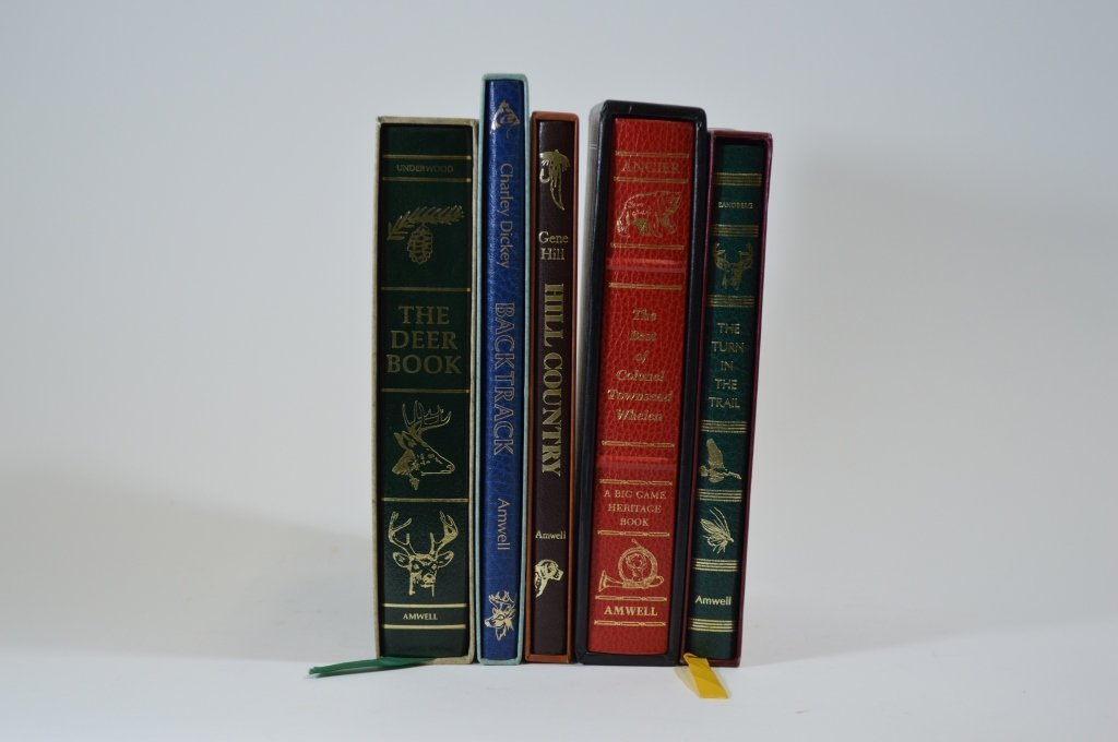 5 Modern Leather Bound Sporting Books by Amwell