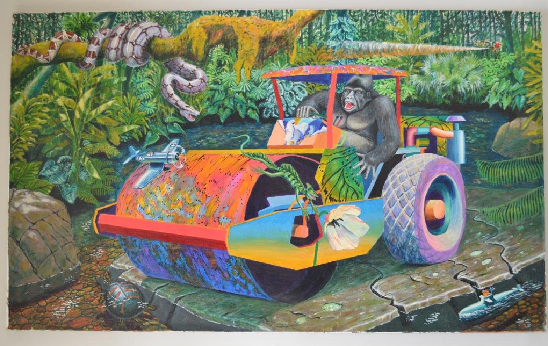 Roller with Chimp Oil on Canvas by Roger Smith